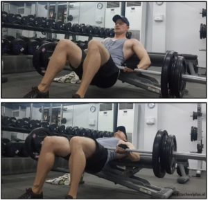 barbell hip trust oefening