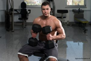 Seated dumbbell front raise